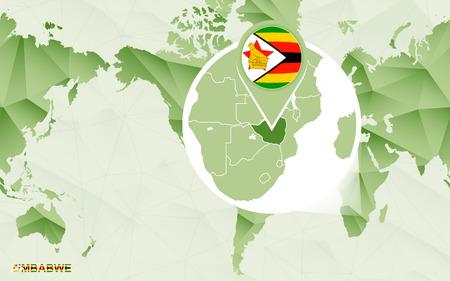 America centric world map with magnified Zimbabwe map. Green polygonal world map. Ilustração