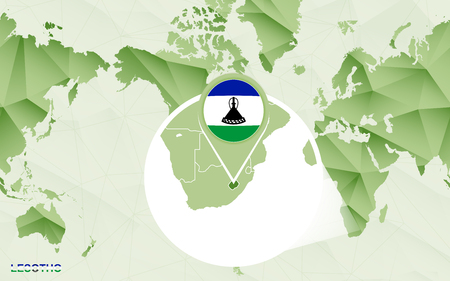 America centric world map with magnified Lesotho map. Green polygonal world map.