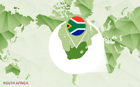 America centric world map with magnified South Africa map. Green polygonal world map.