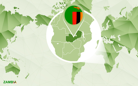 America centric world map with magnified Zambia map. Green polygonal world map.