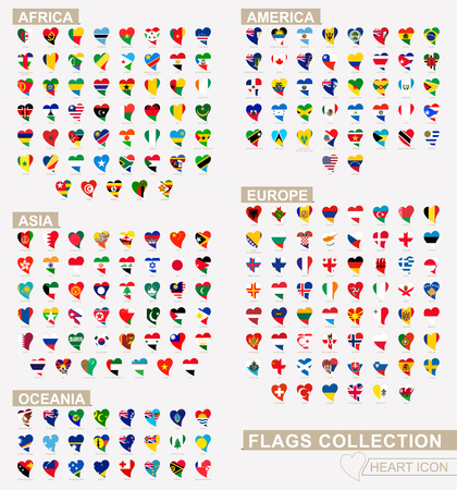 Heart icon set with the flags of the world, flags sorted alphabetical. Vector flags.