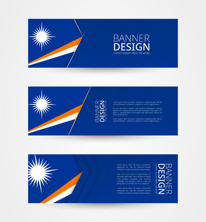 Set of three horizontal banners with flag of Marshall Islands. Web banner design template in color of Marshall Islands flag. Vector illustration.