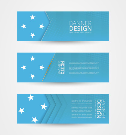 Set of three horizontal banners with flag of Micronesia. Web banner design template in color of Micronesia flag. Vector illustration.