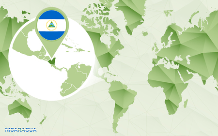 America centric world map with magnified Nicaragua map. Green polygonal world map.