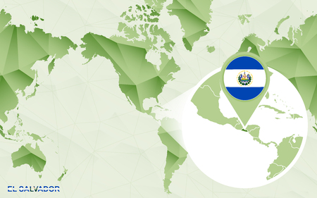 America centric world map with magnified El Salvador map. Green polygonal world map.
