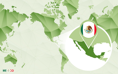 America centric world map with magnified Mexico map. Green polygonal world map. Ilustração