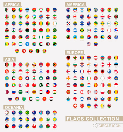 Alphabetically sorted circle flags of the world. Set of round flags. Vector Illustration. Ilustração