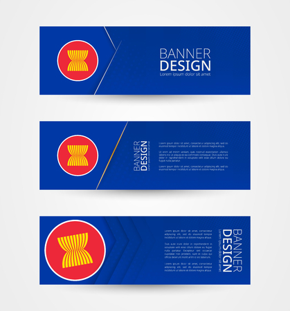 Set of three horizontal banners with flag of ASEAN. Web banner design template in color of ASEAN flag. Vector illustration.