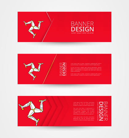 Set of three horizontal banners with flag of Isle of Man. Web banner design template in color of Isle of Man flag. Vector illustration.