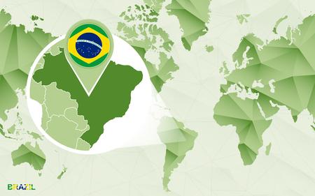 America centric world map with magnified Brazil map. Green polygonal world map. Ilustração