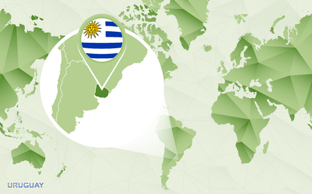 America centric world map with magnified Uruguay map. Green polygonal world map.