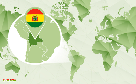 America centric world map with magnified Bolivia map. Green polygonal world map.