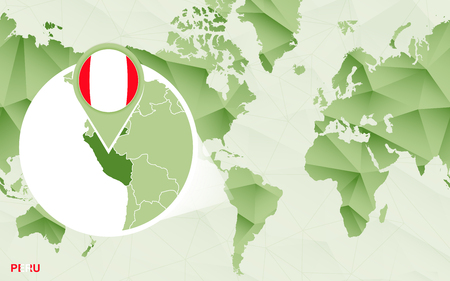 America centric world map with magnified Peru map. Green polygonal world map.