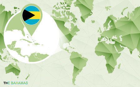 America centric world map with magnified The Bahamas map. Green polygonal world map.