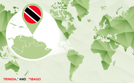 America centric world map with magnified Trinidad and Tobago map. Green polygonal world map. Ilustração