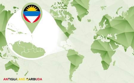 America centric world map with magnified Antigua and Barbuda map. Green polygonal world map.