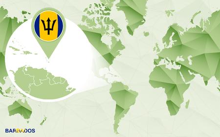 America centric world map with magnified Barbados map. Green polygonal world map. Ilustração