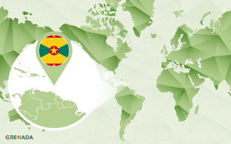 America centric world map with magnified Grenada map. Green polygonal world map.