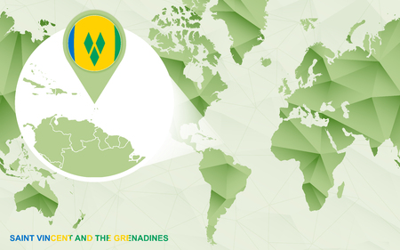 America centric world map with magnified Saint Vincent and the Grenadines map. Green polygonal world map.