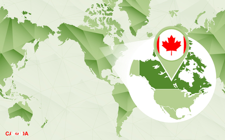 America centric world map with magnified Canada map. Green polygonal world map.