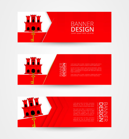 Set of three horizontal banners with flag of Gibraltar. Web banner design template in color of Gibraltar flag. Vector illustration.