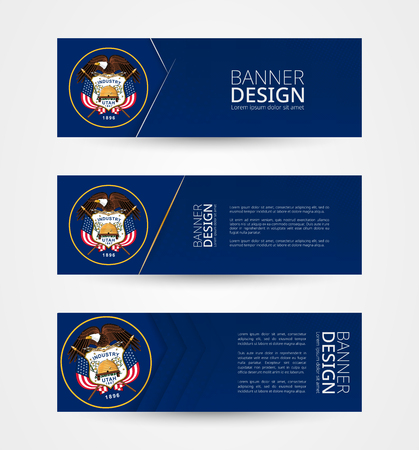Set of three horizontal banners with US state flag of Utah. Web banner design template in color of Utah flag. Vector illustration. 向量圖像