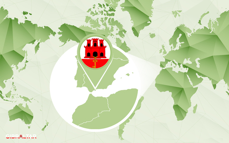 America centric world map with magnified Gibraltar map. Green polygonal world map.