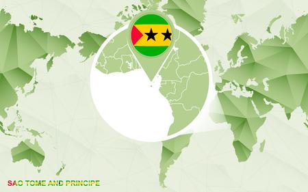 America centric world map with magnified Sao Tome and Principe map. Green polygonal world map. Ilustração Vetorial