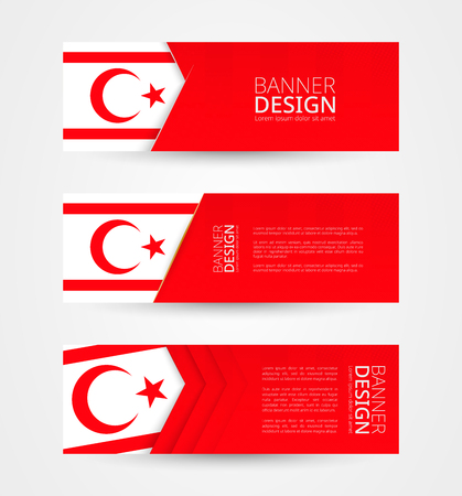 Set of three horizontal banners with flag of Northern Cyprus. Web banner design template in color of Northern Cyprus flag. Vector illustration.