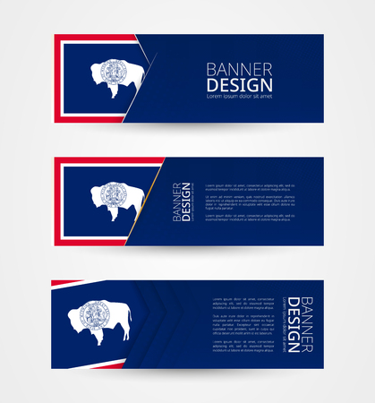 Set of three horizontal banners with US state flag of Wyoming. Web banner design template in color of Wyoming flag. Vector illustration.