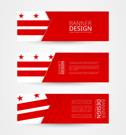 Set of three horizontal banners with flag of District of Columbia. Web banner design template in color of District of Columbia flag. Vector illustration.