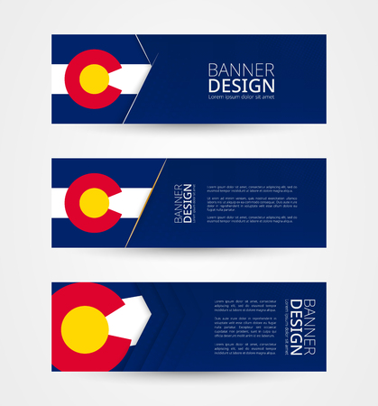 Set of three horizontal banners with US state flag of Colorado. Web banner design template in color of Colorado flag. Vector illustration.