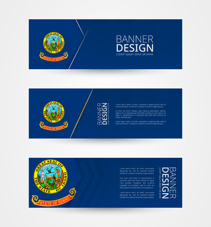 Set of three horizontal banners with US state flag of Idaho. Web banner design template in color of Idaho flag. Vector illustration.
