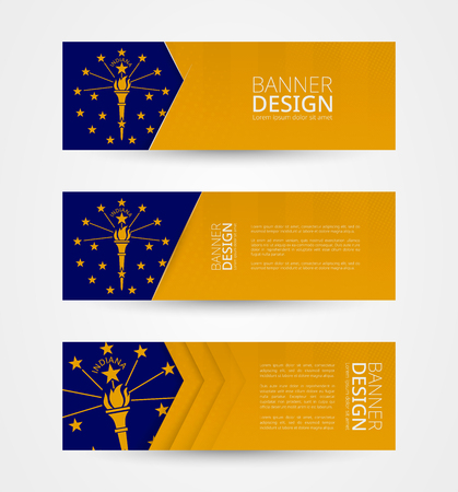 Set of three horizontal banners with US state flag of Indiana. Web banner design template in color of Indiana flag. Vector illustration. Illustration