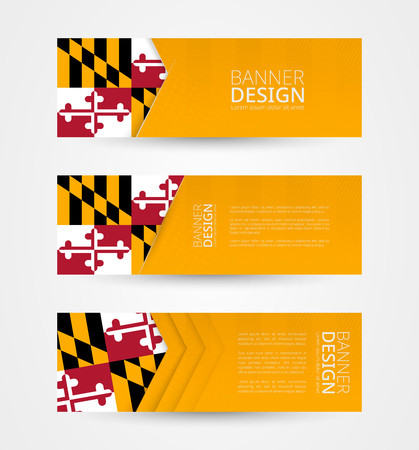 Set of three horizontal banners with US state flag of Maryland. Web banner design template in color of Maryland flag. Vector illustration.