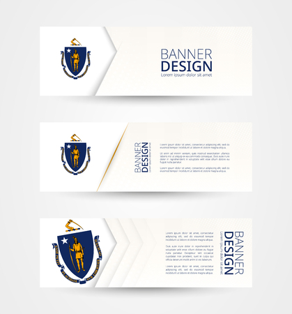 Set of three horizontal banners with US state flag of Massachusetts. Web banner design template in color of Massachusetts flag. Vector illustration.