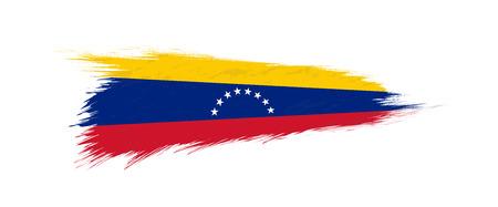 Flag of Venezuela in grunge brush stroke, vector grunge illustration.