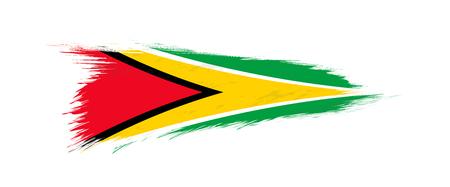 Flag of Guyana in grunge brush stroke, vector grunge illustration.