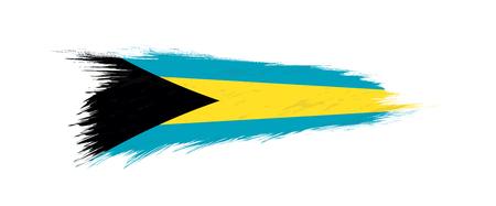 Flag of The Bahamas in grunge brush stroke, vector grunge illustration.