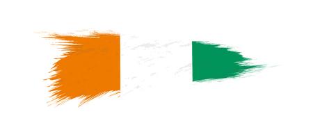 Flag of Ivory Coast in grunge brush stroke, vector grunge illustration.