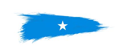 Flag of Somalia in grunge brush stroke, vector grunge illustration.