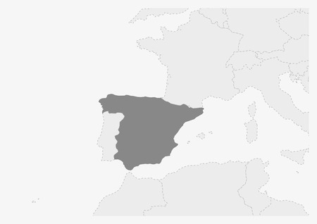 Map of Europe  with highlighted Spain map, gray map of Spain with neighboring countries