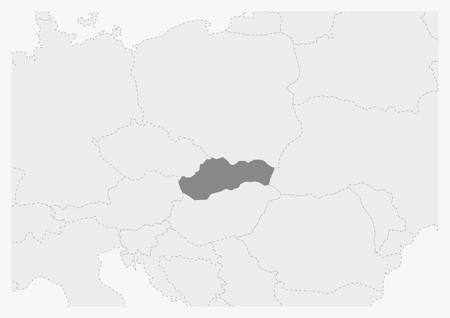 Map of Europe with highlighted Slovakia map, gray map of Slovakia with neighboring countries