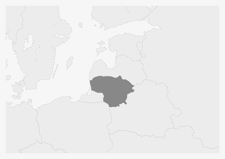 Map of Europe with highlighted Lithuania map, gray map of Lithuania with neighboring countries