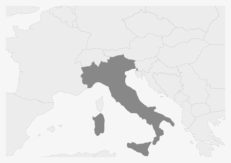 Map of Europe with highlighted Italy map, gray map of Italy with neighboring countries