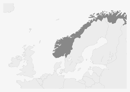 Map of Europe with highlighted Norway map, gray map of Norway with neighboring countries