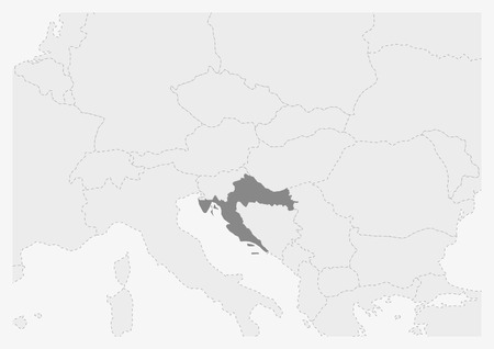 Map of Europe with highlighted Croatia map, gray map of Croatia with neighboring countries Illustration