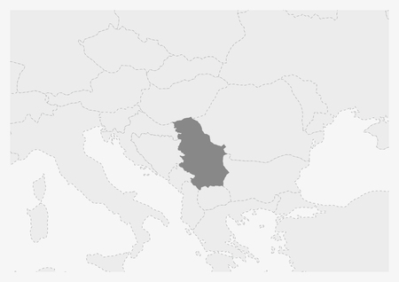 Map of Europe with highlighted Serbia map, gray map of Serbia with neighboring countries