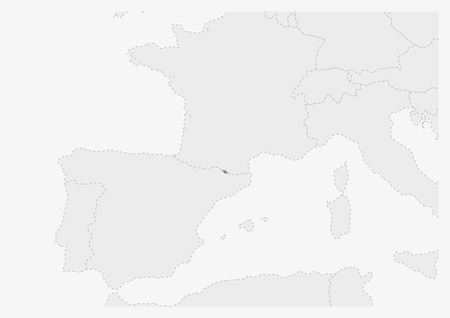 Map of Europe with highlighted Andorra map, gray map of Andorra with neighboring countries