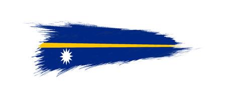 Flag of Nauru in grunge brush stroke, vector grunge illustration.